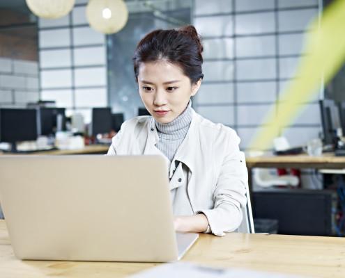 female lady using laptop